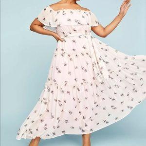 Lane Bryant pink floral off shoulder maxi dress